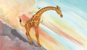 Giraffe Sliding Down Rocky Slope