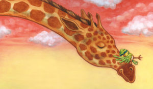 Bird hugging Giraffe